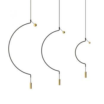 Lámpara suspendida con LED. Color Negro y Dorado