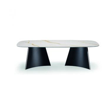 Mesa fija con base de acero y cubierta de madera enchapada lacada o cristal-cerámico.
