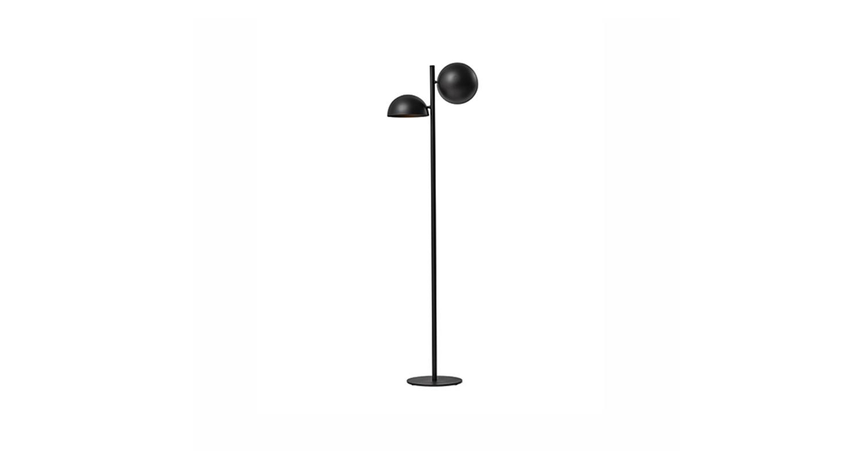 Lámpara de pie con luz directa. Color negro.