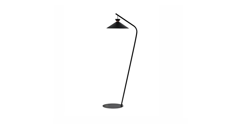 Lámpara de pie con luz difusa. Color negro y niquel.