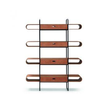 Librero modular de acero y madera
