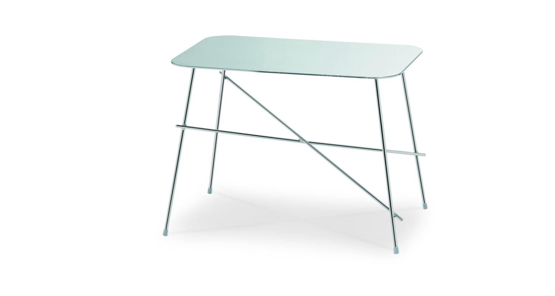 Mesa auxiliar con estructura de acero y cubierta de acero o cristal-cerámico.
