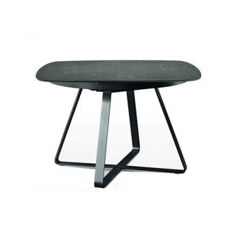 Mesa fija con base de acero y cubierta de cristal-cerámico y madera enchapada lacada.