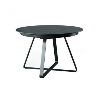 Mesa fija con base de acero lacado y cubierta de cristal-cerámico o madera enchapada lacada.