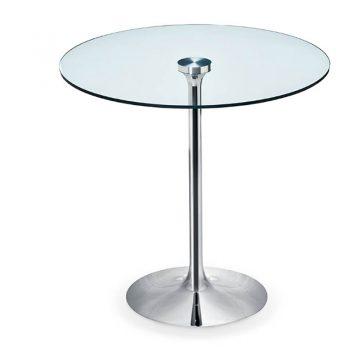 Mesa fija con base de acero y cubierta de melamina