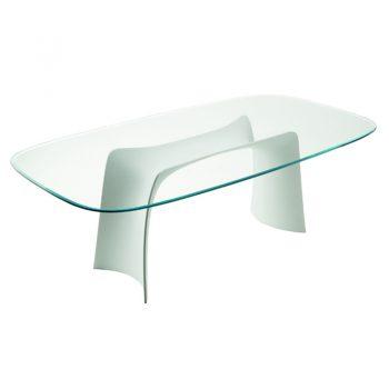 Mesa fija con base de baydur® y cubierta de vidrio o cristal-cerámico.
