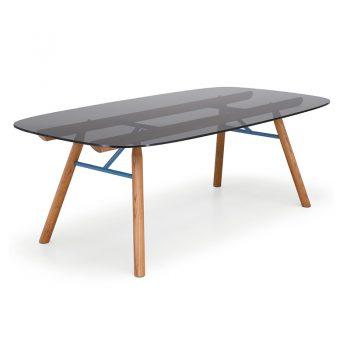 Mesa fija con base de madera y cubierta de vidrio y cristal-cerámico