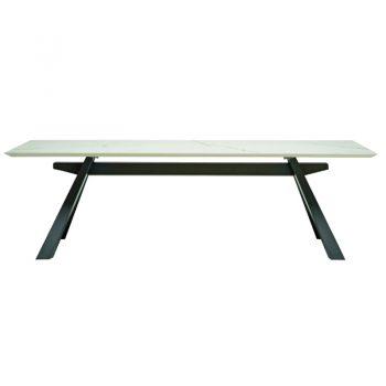 Mesa fija con base de acero lacado y cubierta de madera enchapada lacada