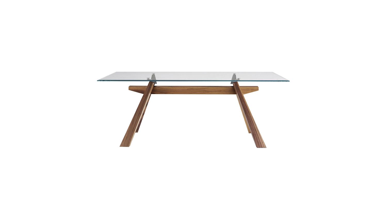 Mesa fija con base de madera y cubierta de madera enchapada lacada