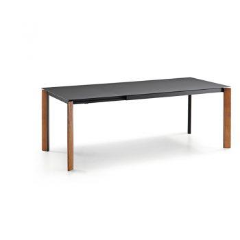 Mesa extensible con patas en madera lacada y cubierta de melamina