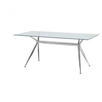 Mesa fija con estructura de acero y cubierta de madera o vidrio.