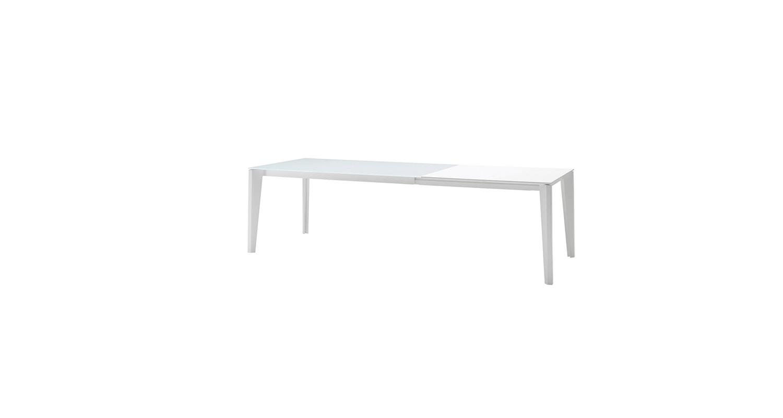 Mesa fija con estructura de acero lacado y cubierta de melamina