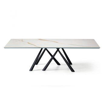 Mesa fija con estructura de acero lacado y cubierta de madera maciza o cristal-cerámico.