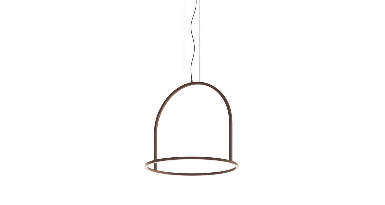 Lámpara suspendida con luz directa. Color Gris Antracita y Café Óxido.